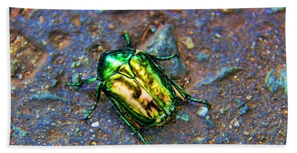 Green Junebug Beach Towel featuring the photograph Green Junebug by Mariola Bitner