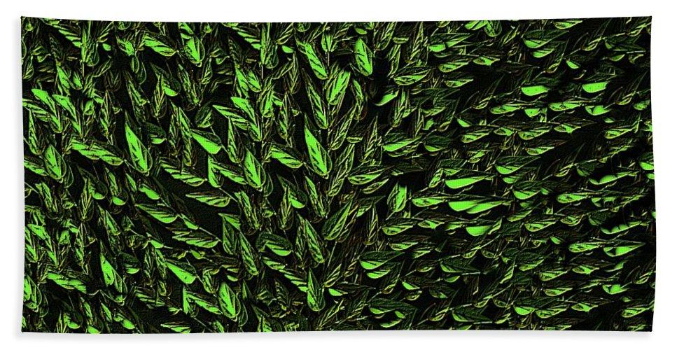 Digital Art Beach Towel featuring the digital art Green Leaf by David Dehner