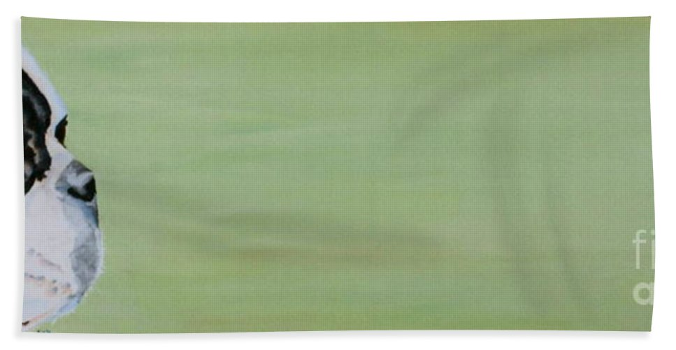 Boston Terrier Beach Towel featuring the painting Green Space by Susan Herber