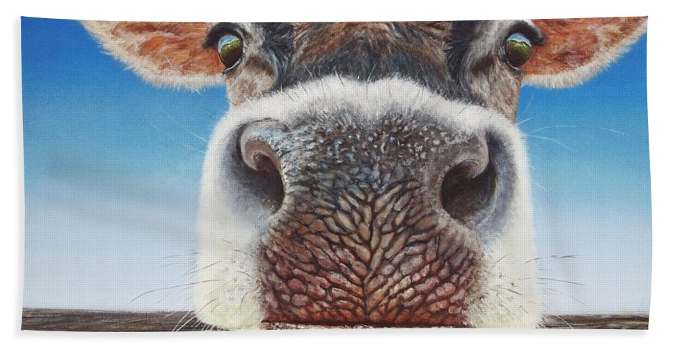 Cow Beach Towel featuring the painting Greener Pastures by Greg and Linda Halom