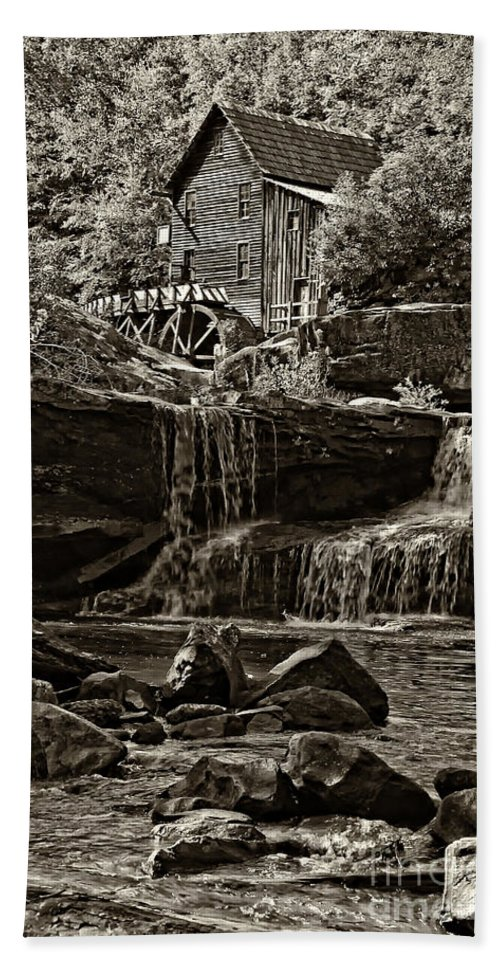 Grist Mill Beach Towel featuring the photograph Grist Mill Babcock State Park - Sepia by Kathleen K Parker