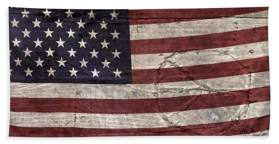 Usa Beach Towel featuring the photograph Grungy Textured Usa Peace Sign Flag by John Stephens