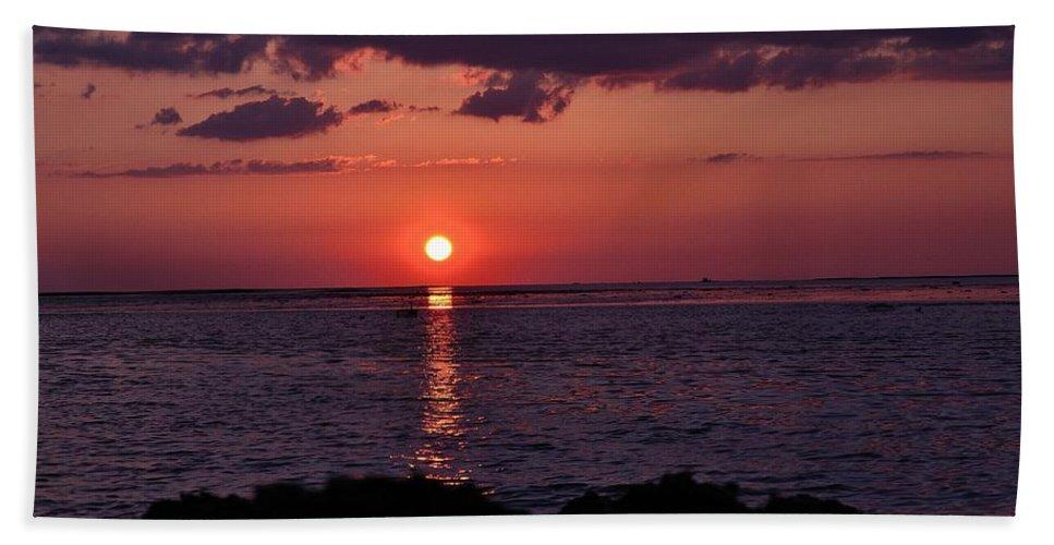 Gulf Beach Towel featuring the photograph Gulfview Sunset by Kari Tedrick