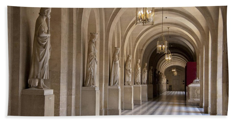 Palace Of Versailles Paris France Beach Towel featuring the photograph Hallway In Palace Of Versaille by Jon Berghoff