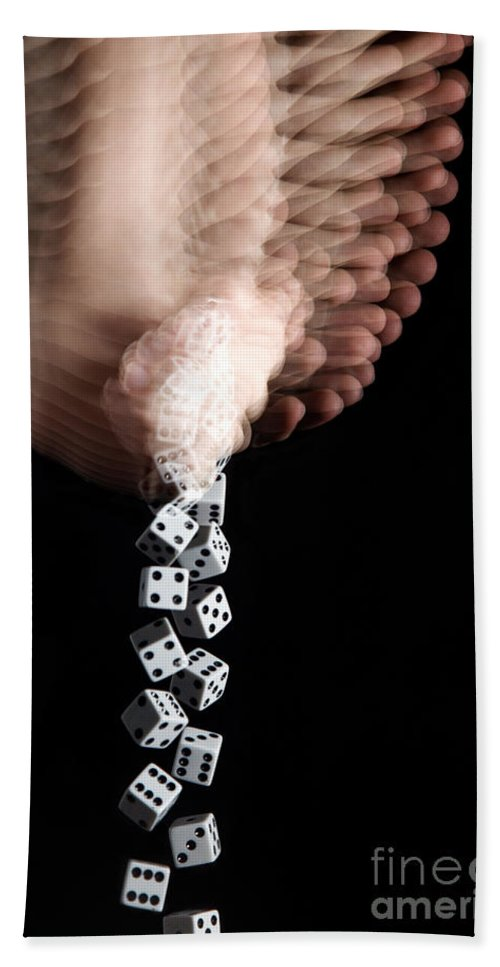 Hand Beach Towel featuring the photograph Hand Rolling Dice by Ted Kinsman
