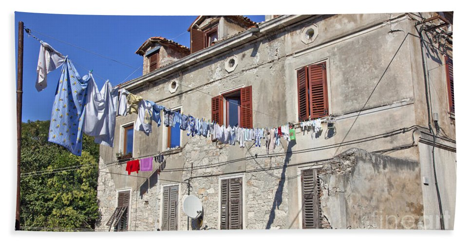 Laundry Beach Towel featuring the photograph Hanging Out To Dry In Rovinj by Madeline Ellis