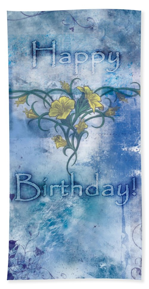 Happy Beach Towel featuring the painting Happy Birthday - Card Design by Christopher Gaston
