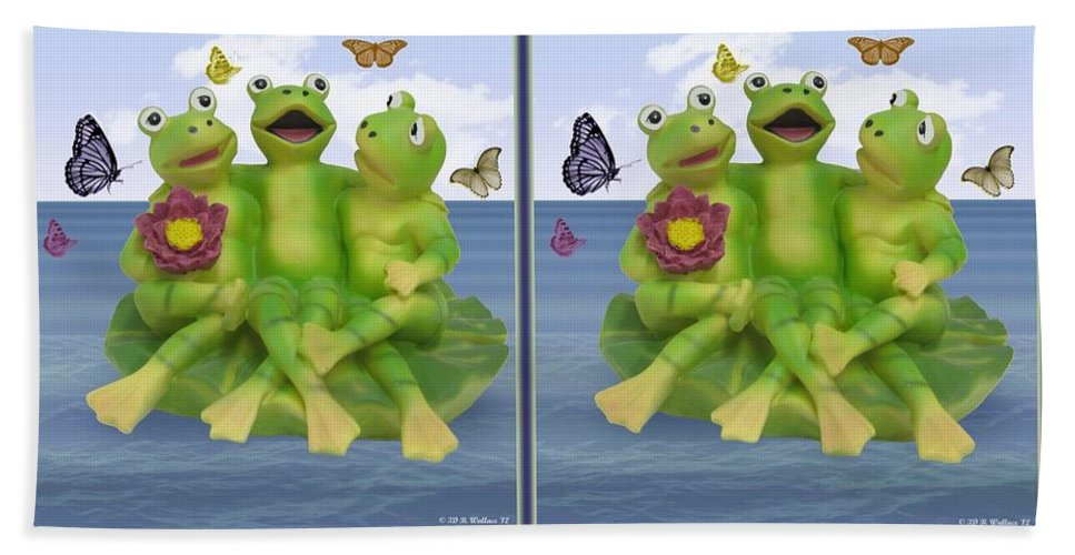 3d Beach Towel featuring the photograph Happy Frogs - Gently Cross Your Eyes And Focus On The Middle Image by Brian Wallace