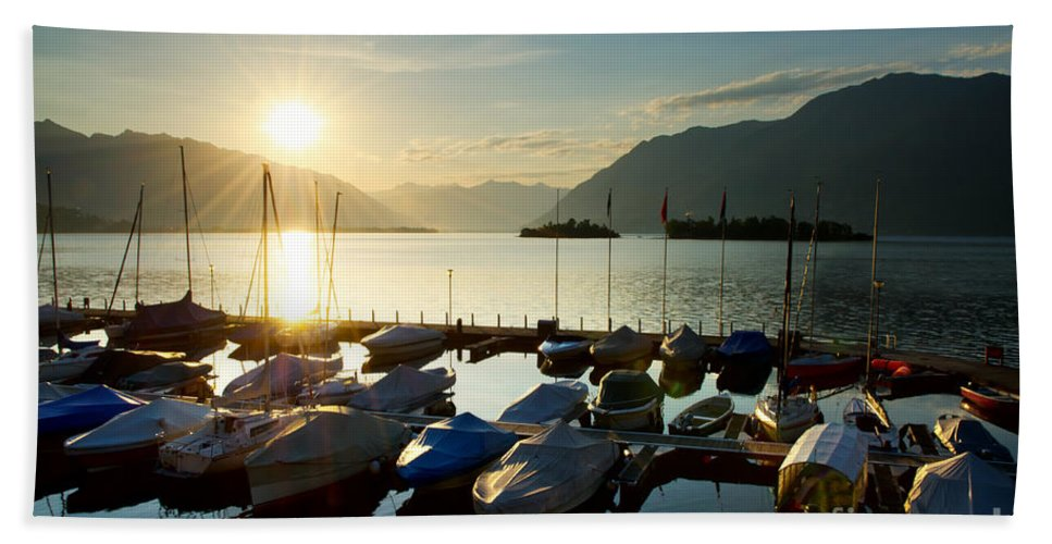Port Beach Towel featuring the photograph Harbor In Sunrise by Mats Silvan