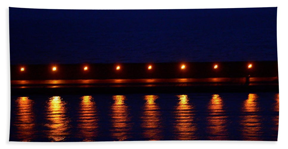 Harbor Lights Beach Towel featuring the photograph Harbor Lights Reflected by Eric Tressler
