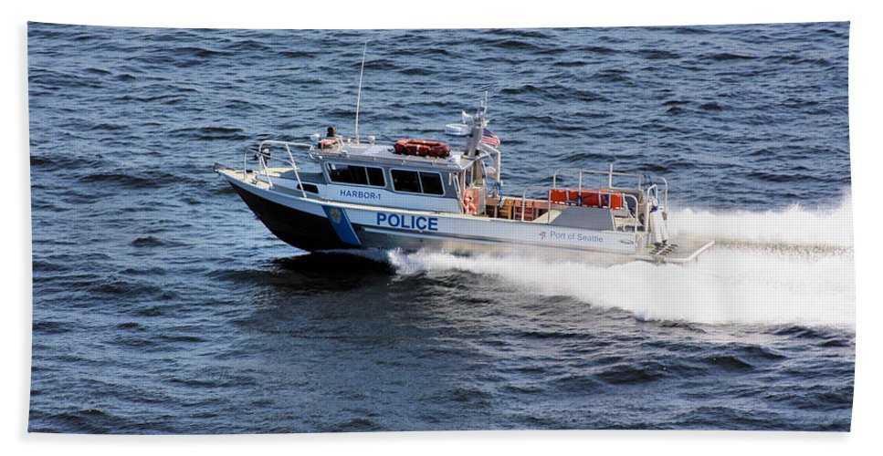 Seattle Beach Towel featuring the photograph Harbor Police by Kristin Elmquist