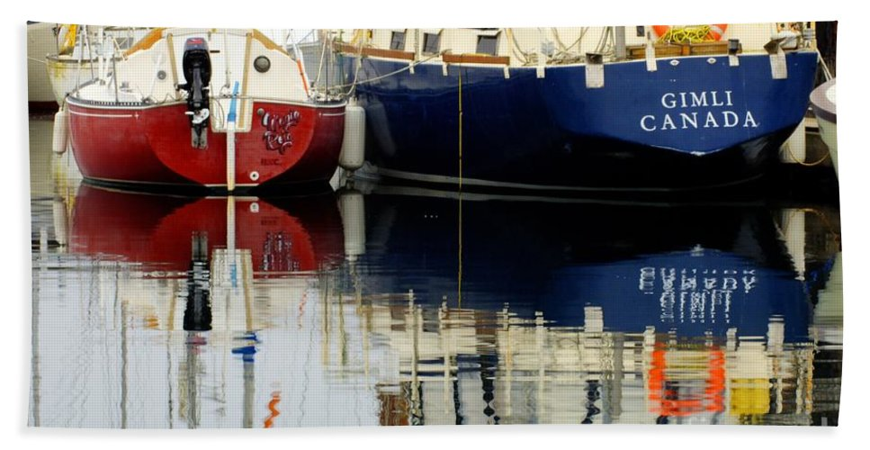 Fishing Boats Beach Towel featuring the photograph Harbor Reflections by Bob Christopher