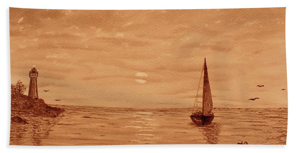 Harbor Sunset Beach Towel featuring the painting Harbor Sunset by Georgeta Blanaru