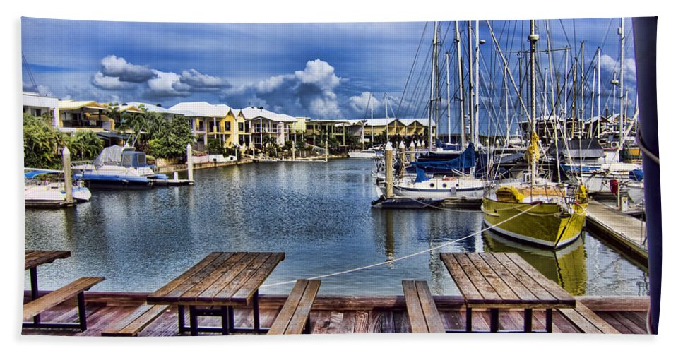 Harbor Side Beach Towel featuring the photograph Harborside Cafe by Douglas Barnard