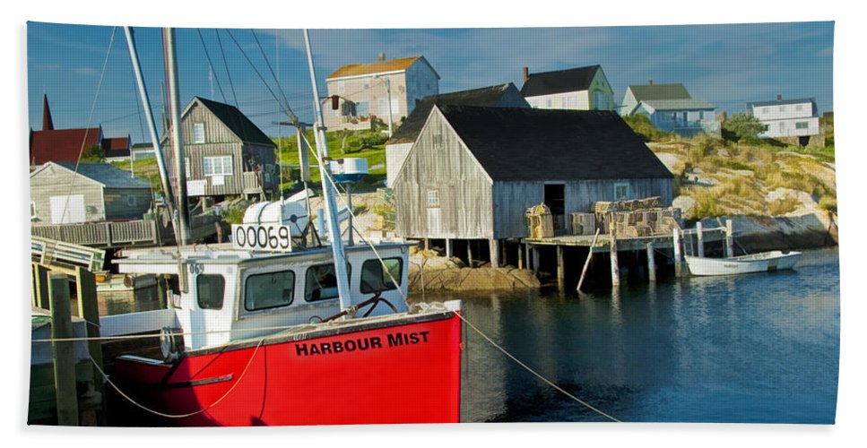 Art Beach Towel featuring the photograph Harbour Mist In Peggy's Cove No 103 by Randall Nyhof