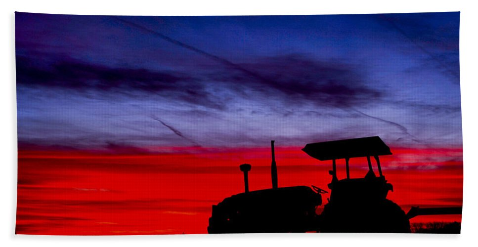 Farming Beach Towel featuring the photograph Hard Day Ends by La Rae Roberts