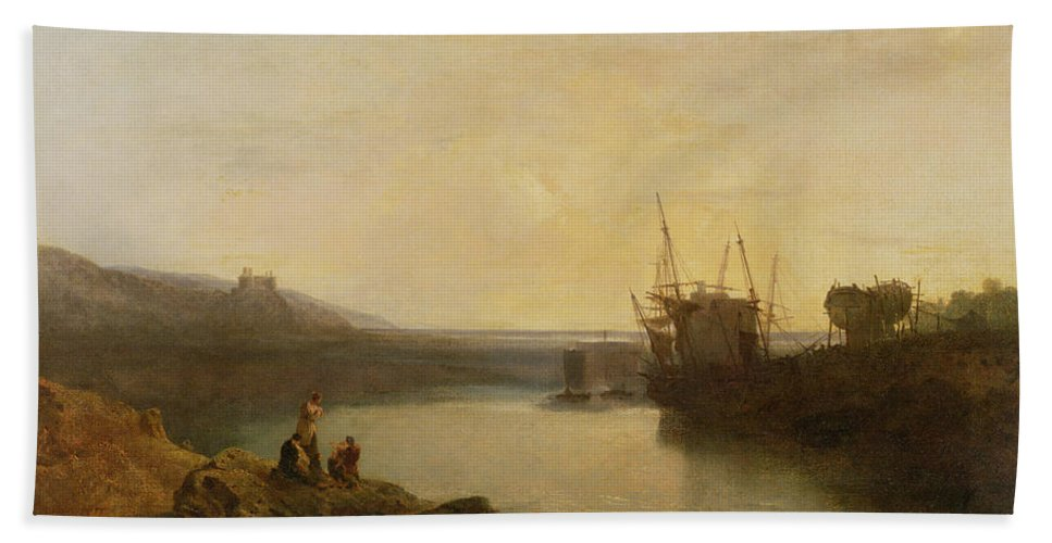 Xyc111958 Beach Towel featuring the photograph Harlech Castle - From Twgwyn Ferry by Joseph Mallord William Turner