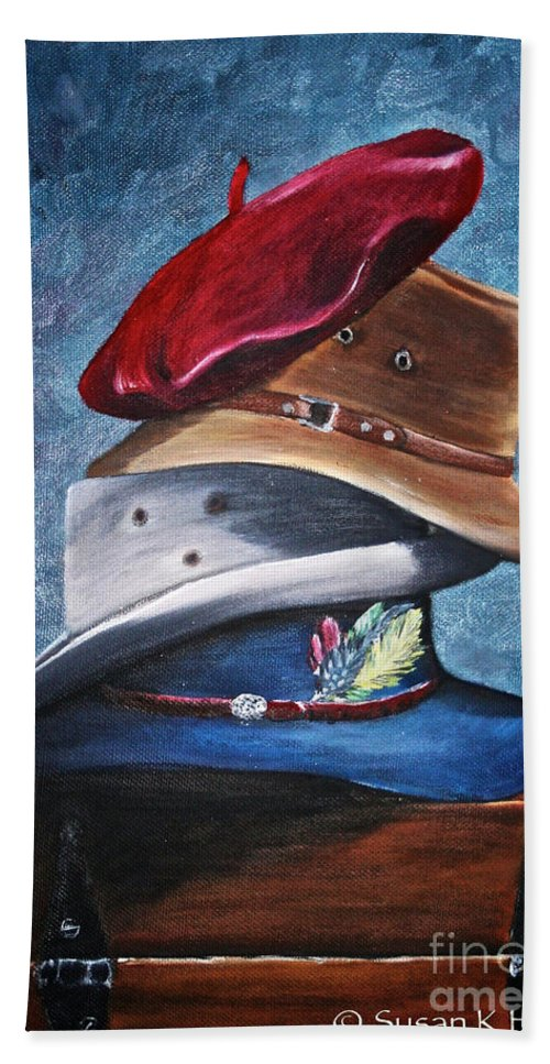 Hats Beach Towel featuring the painting Hat Stack by Susan Herber