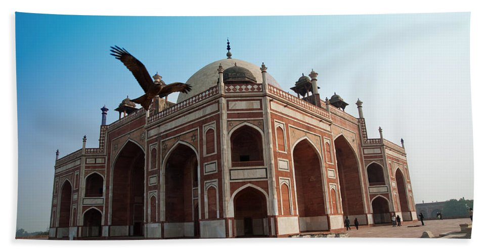 Tomb Beach Towel featuring the photograph Hawk Flying Next To Humayun Tomb Delhi by Ashish Agarwal