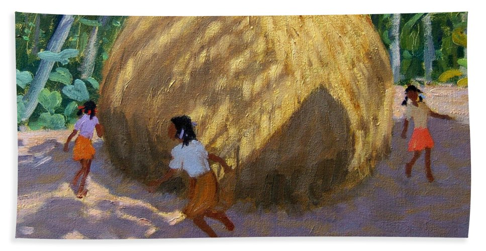 Indian Landscape Beach Towel featuring the painting Haystack by Andrew Macara