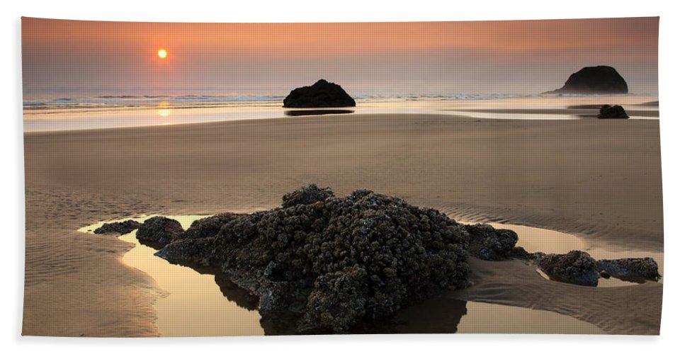 Arcadia Beach Beach Towel featuring the photograph Hazy Oregon Sunset by Mike Dawson