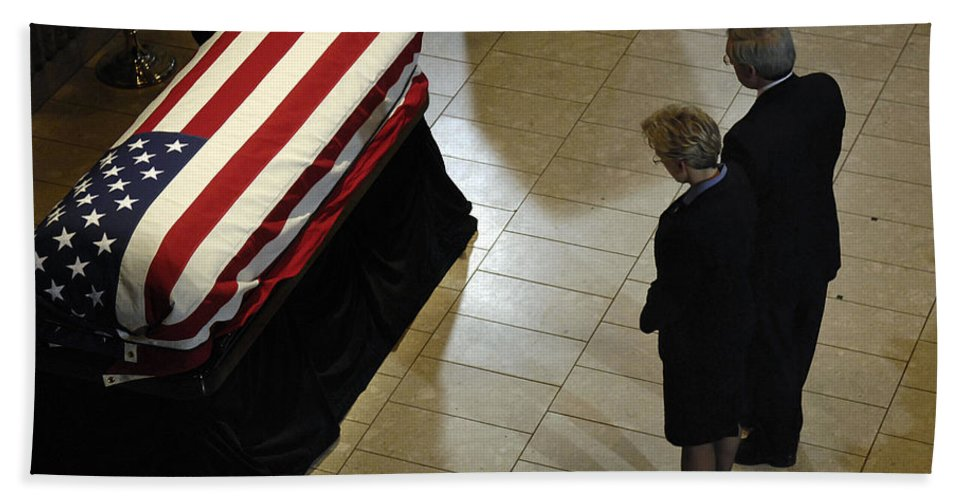 Adults Only Beach Towel featuring the photograph He Casket Of Former President Gerald R by Stocktrek Images