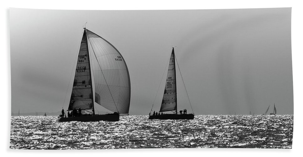 Sailing Beach Towel featuring the photograph Heading Home Solent by Gary Eason