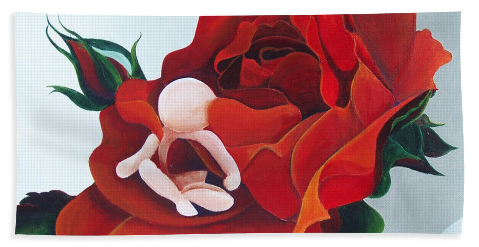 Healing Painting Beach Towel featuring the painting Healing Painting Baby Sitting In A Rose by Catt Kyriacou