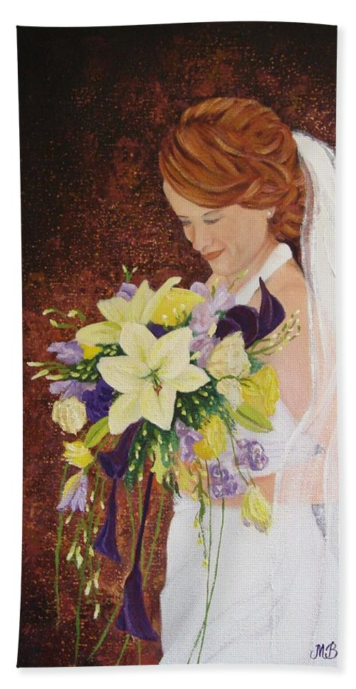 Bride Beach Towel featuring the painting Heather's Special Day by Margaret Bobb
