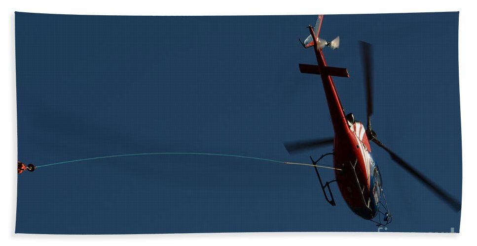 Helicopter Beach Towel featuring the photograph Helicopter With A Hook by Mats Silvan