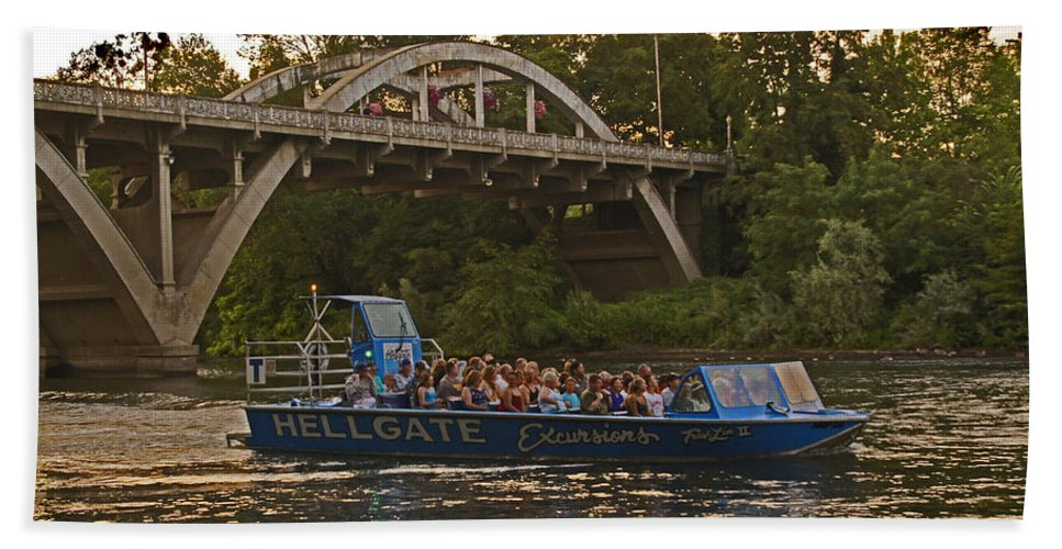 Hellgate Beach Towel featuring the photograph Hellgate Jet Boat And Caveman Bridge by Mick Anderson