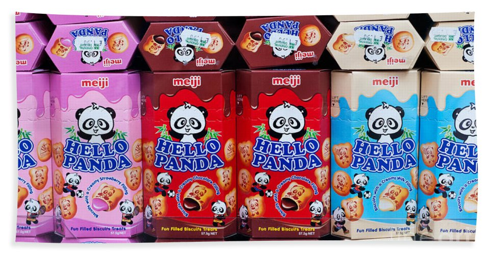 Hello Beach Towel featuring the photograph Hello Panda Biscuits by Rick Piper Photography