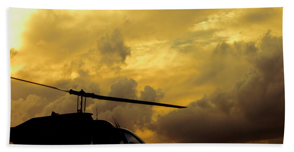 Whirlybird Beach Towel featuring the photograph Helocopter In Clouds by Robert Frederick