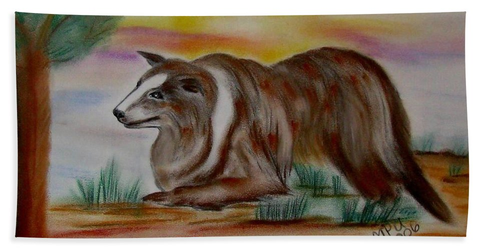 Collie Beach Towel featuring the drawing Herding Collie by Maria Urso
