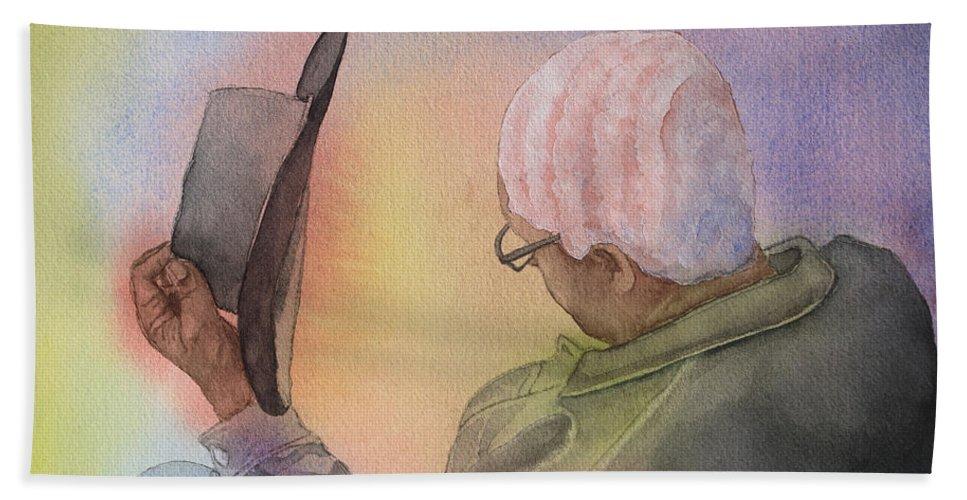 Man Beach Towel featuring the painting Hiawatha's Hair by Sari Sauls