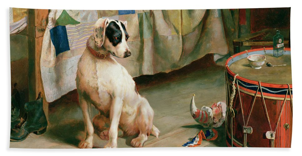 Dog; Collar; Drum; Medicine; Punch; Bedspread; Pipe; Terrier Beach Towel featuring the painting Hide And Seek by Arthur Charles Dodd