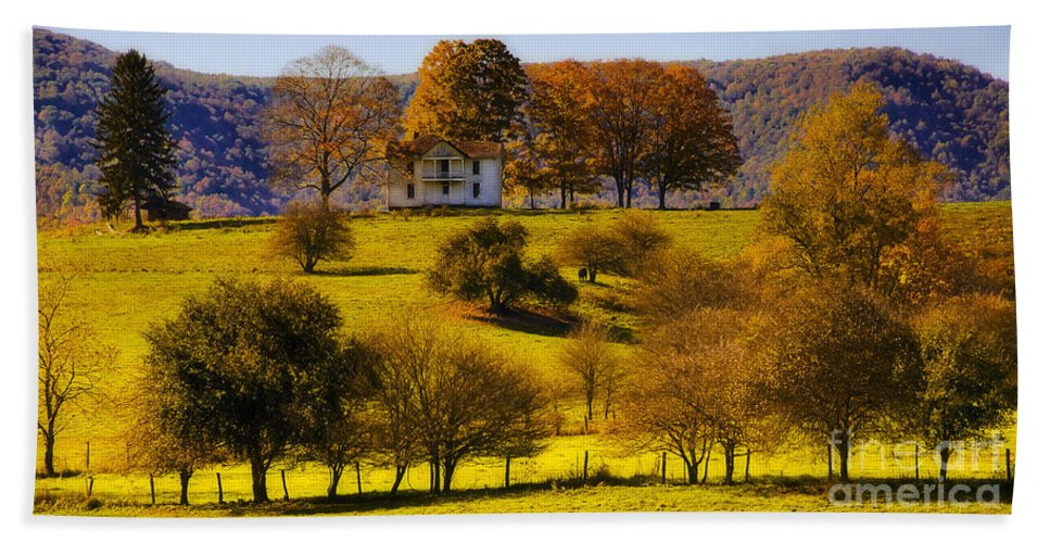 Landscape Beach Towel featuring the photograph High On A Hill by Kathleen K Parker