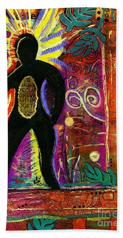 Emotive Art Beach Towel featuring the mixed media High Spirits by Angela L Walker