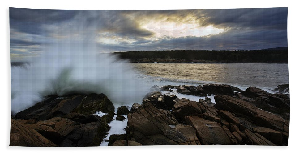 Maine Beach Towel featuring the photograph High Tide At Otter Point by Rick Berk