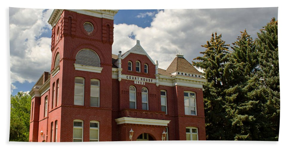Courthouse Beach Towel featuring the photograph Historic Courthouse Marysvale Utah by Donna Greene