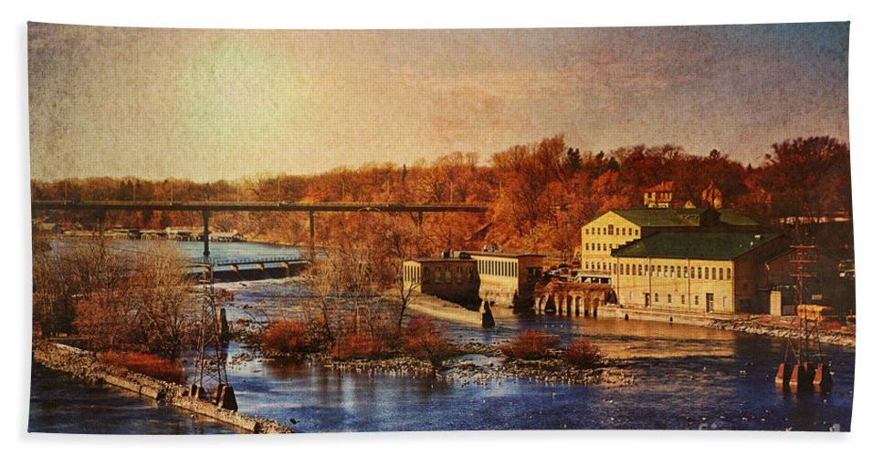 Fox River Beach Towel featuring the photograph Historic Vulcan Paper Mill by Joel Witmeyer