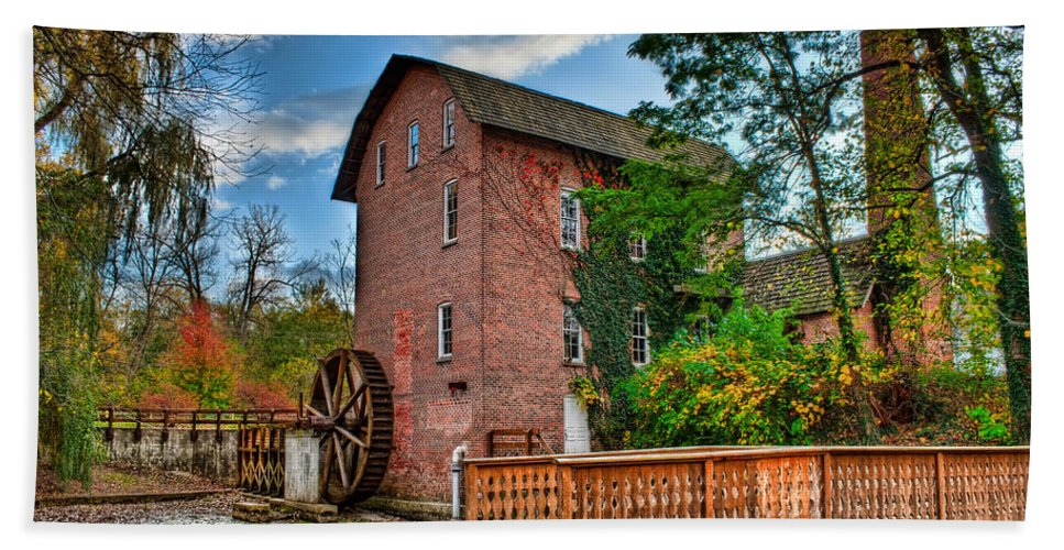 Mill Beach Towel featuring the photograph Historic Woods Grist Mill by Scott Wood