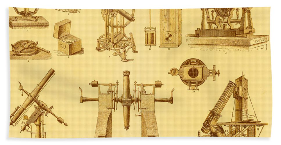 Astronomy Beach Towel featuring the photograph Historical Astronomy Instruments by Science Source