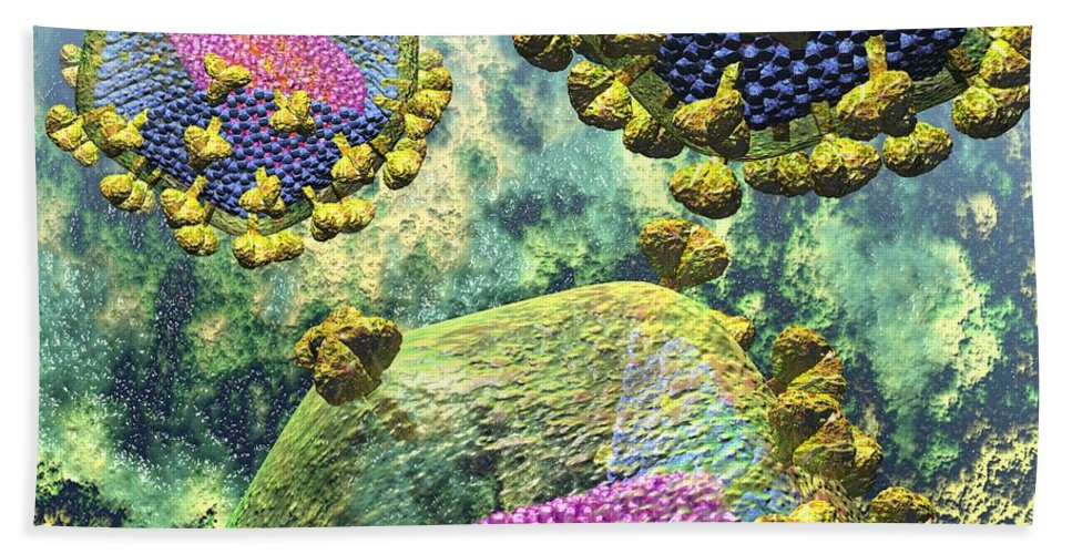 Acquired Beach Towel featuring the digital art Hiv Three Sectioned Virions On Blue by Russell Kightley