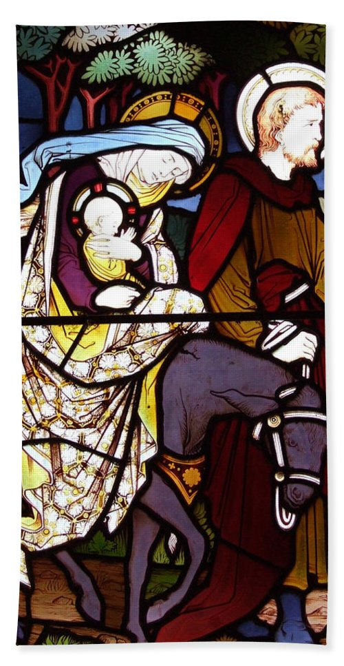 Holy Beach Towel featuring the photograph Holy Family Stained Glass by Munir Alawi