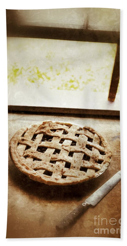 Pie Beach Towel featuring the photograph Home Made Pie Cooling By Open Window by Jill Battaglia