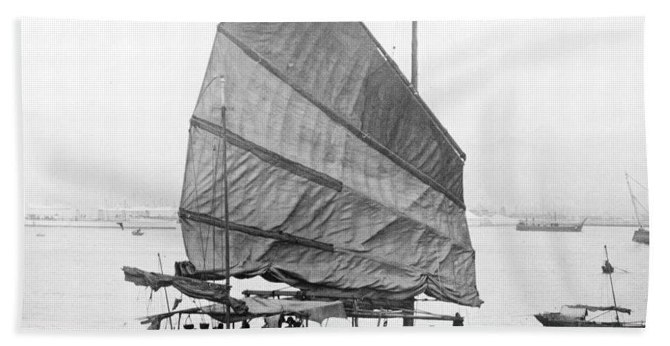 Junk Beach Towel featuring the photograph Hong Kong Harbor - Chinese Junk Boat - C 1907 by International Images