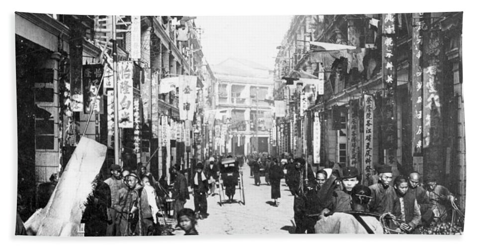 hong Kong Beach Towel featuring the photograph Hong Kong Vintage Street Scene - C 1902 by International Images