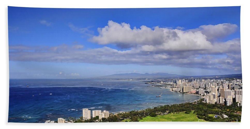 Oahu Beach Towel featuring the photograph Honolulu From Diamond Head by Gary Beeler