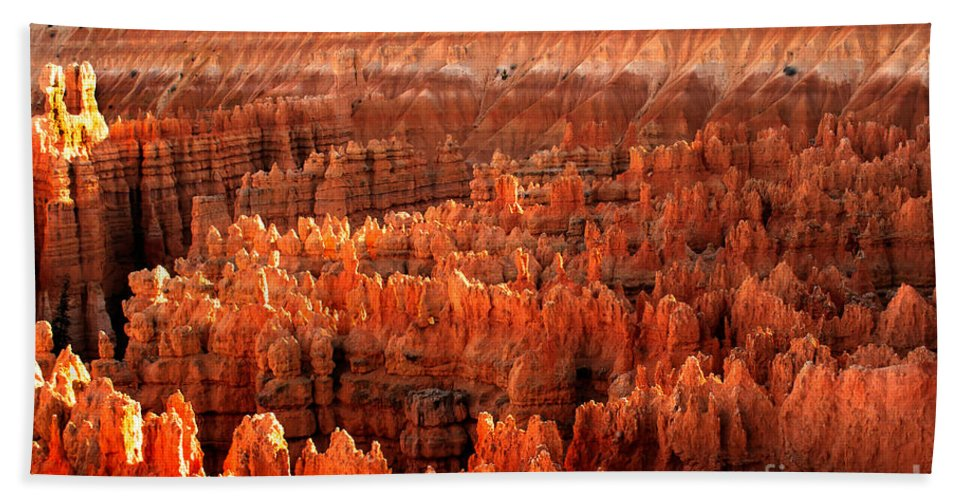 Rock Formations Beach Towel featuring the photograph Hoodoos At Sunrise by Robert Bales